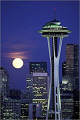 Poster von Seattle Space Needle bei Vollmond